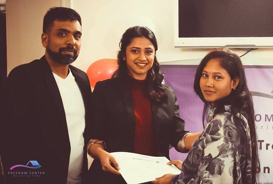 Shrabani, right, at the Beautician Training Course graduation ceremony