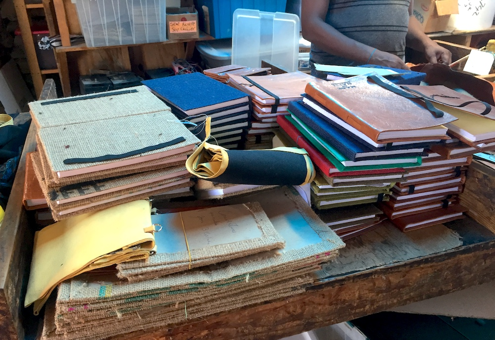 Leather goods in Benson's workshop