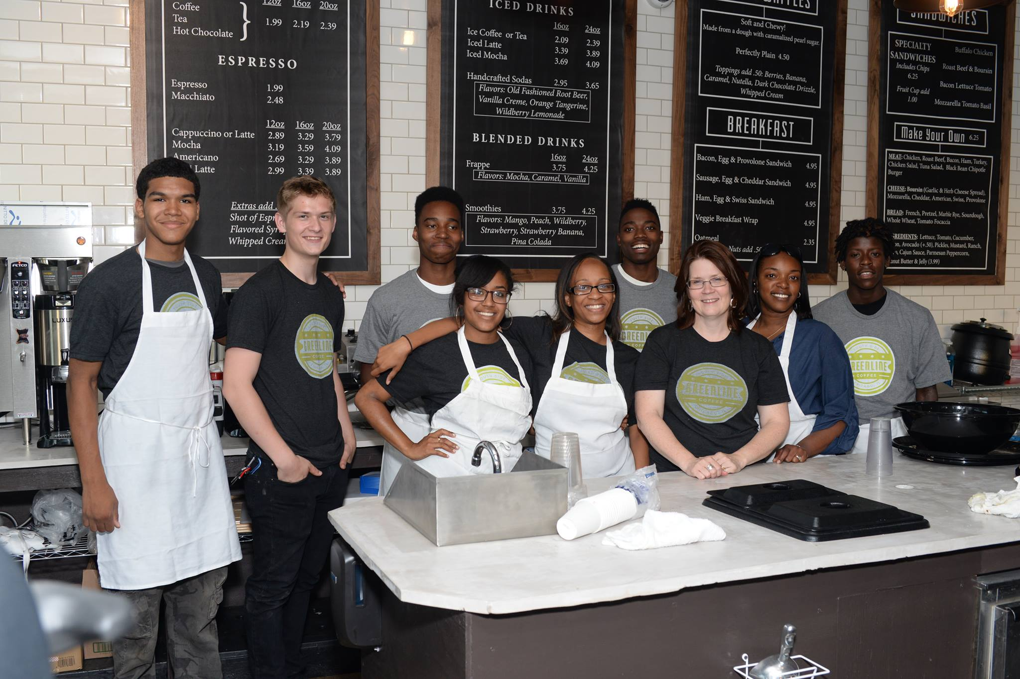 Employees of Greenline Coffee, a social enterprise launched by Sunshine.