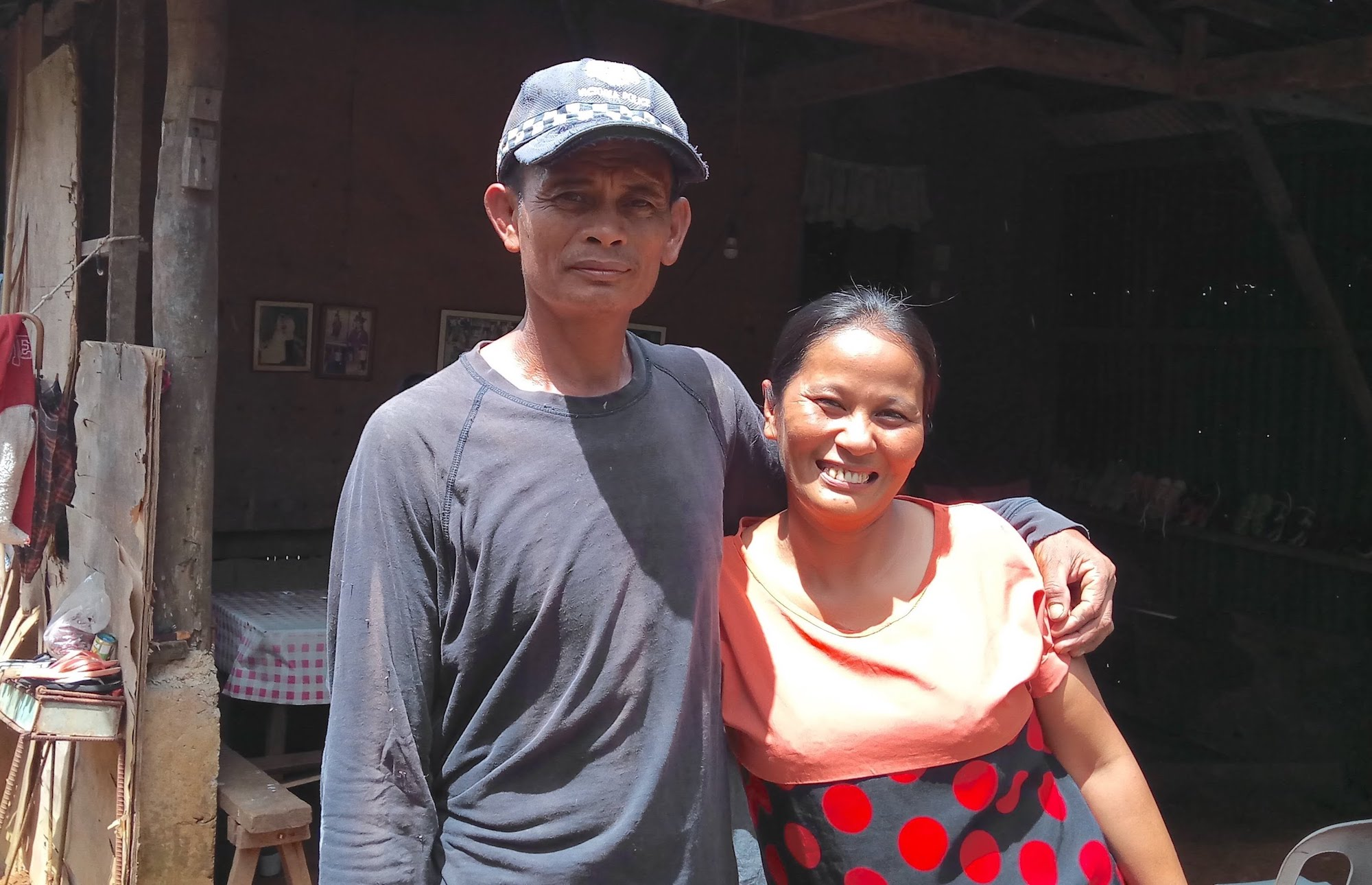 Maribeth and her husband at their home in Don Salvador Benedicto